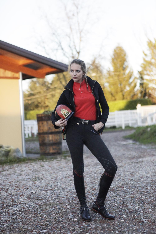 outfit equitazione nere e arancio