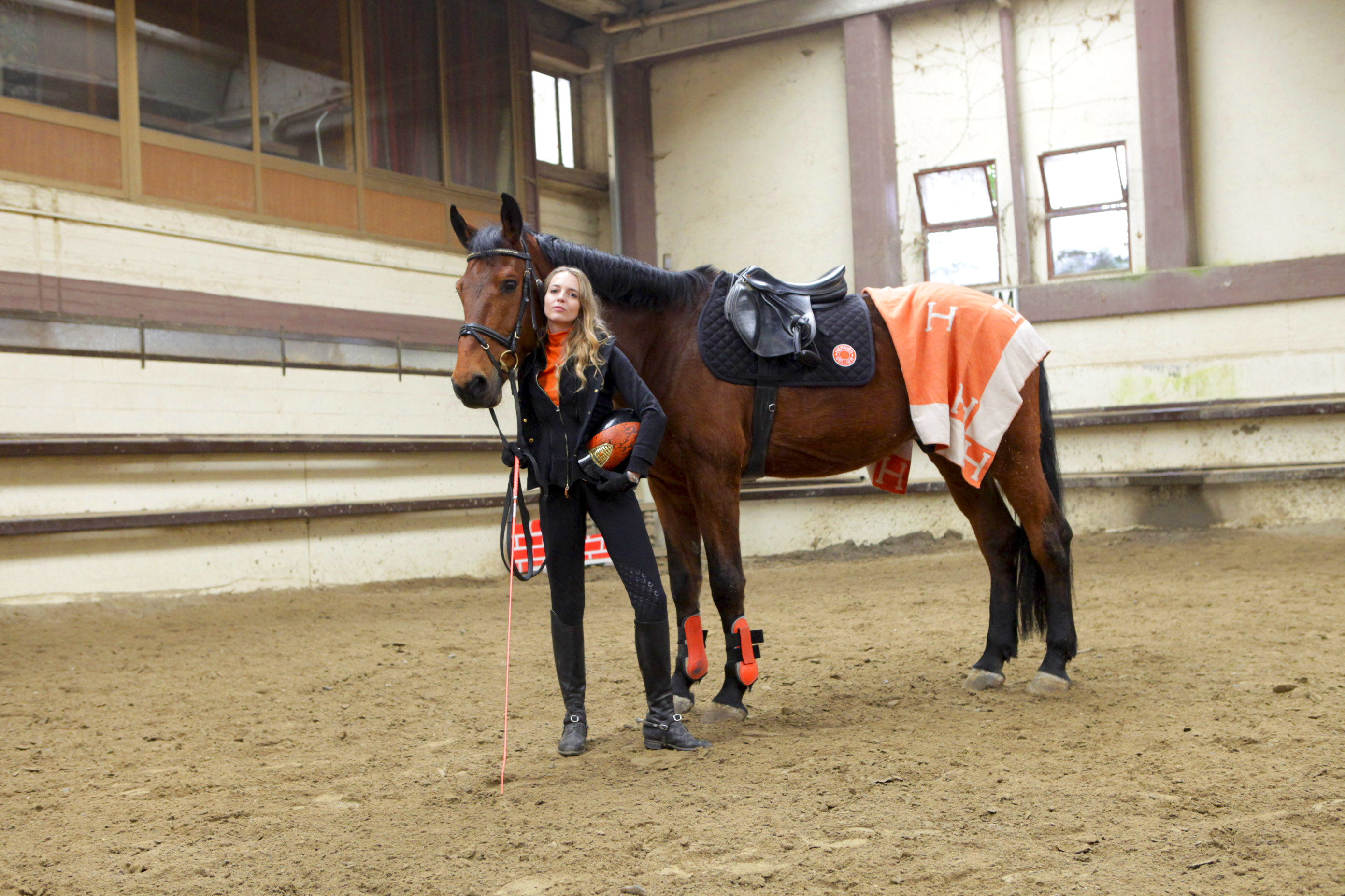 orange equestrian look