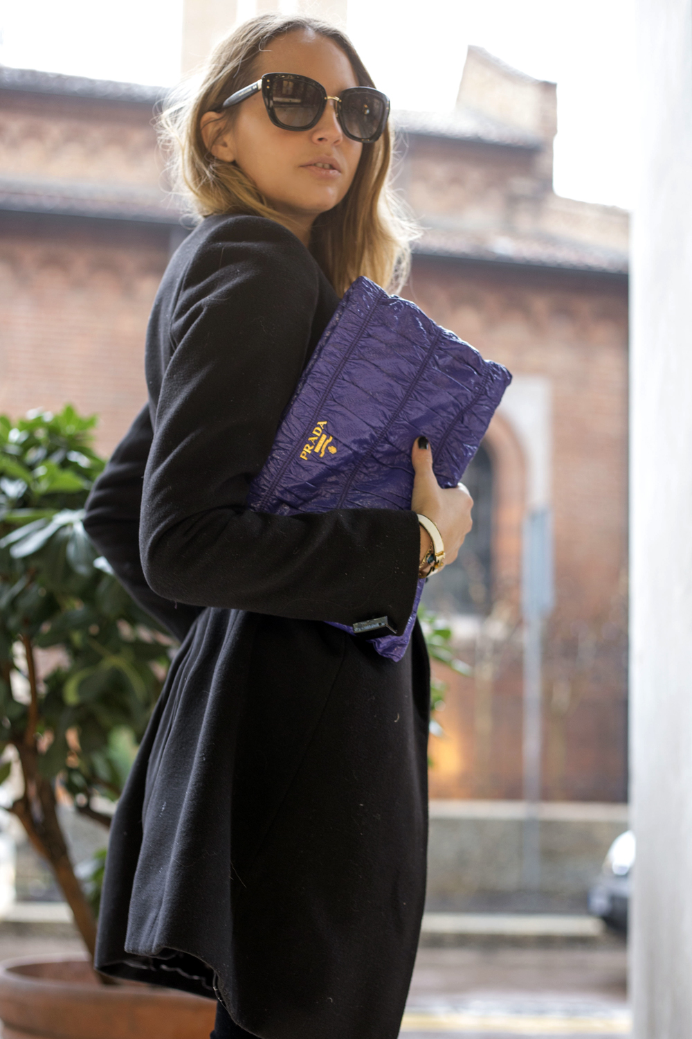 purple prada pochette