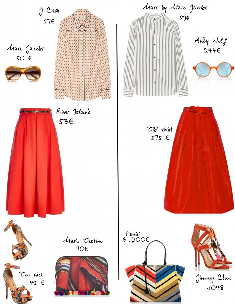 Red-skirt-fendi bag
