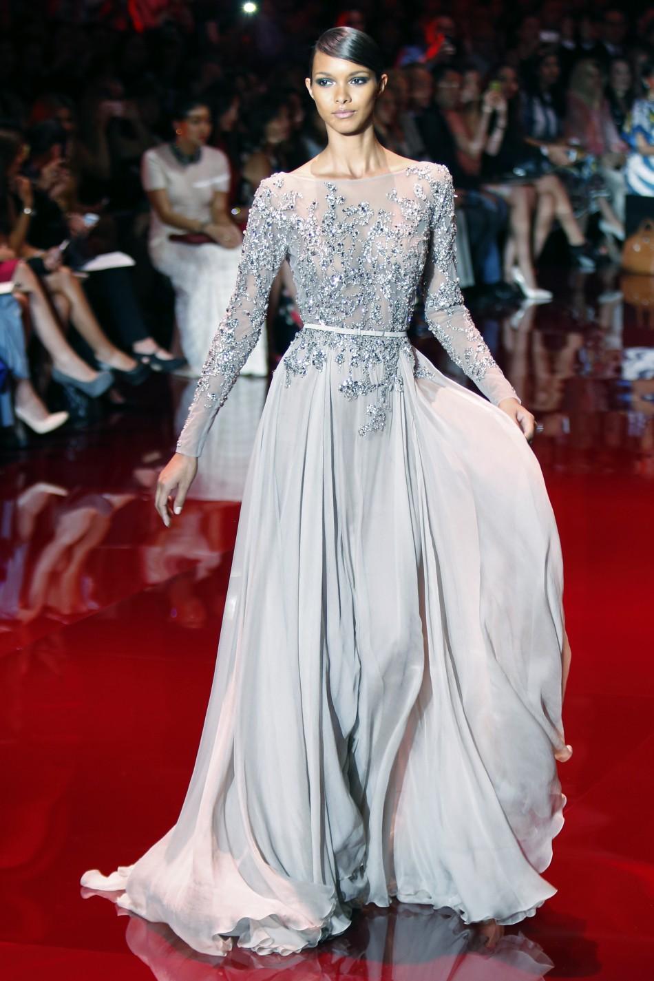 Model Presents Creation By Lebanese Designer Elie Saab