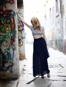 zara blu long skirt