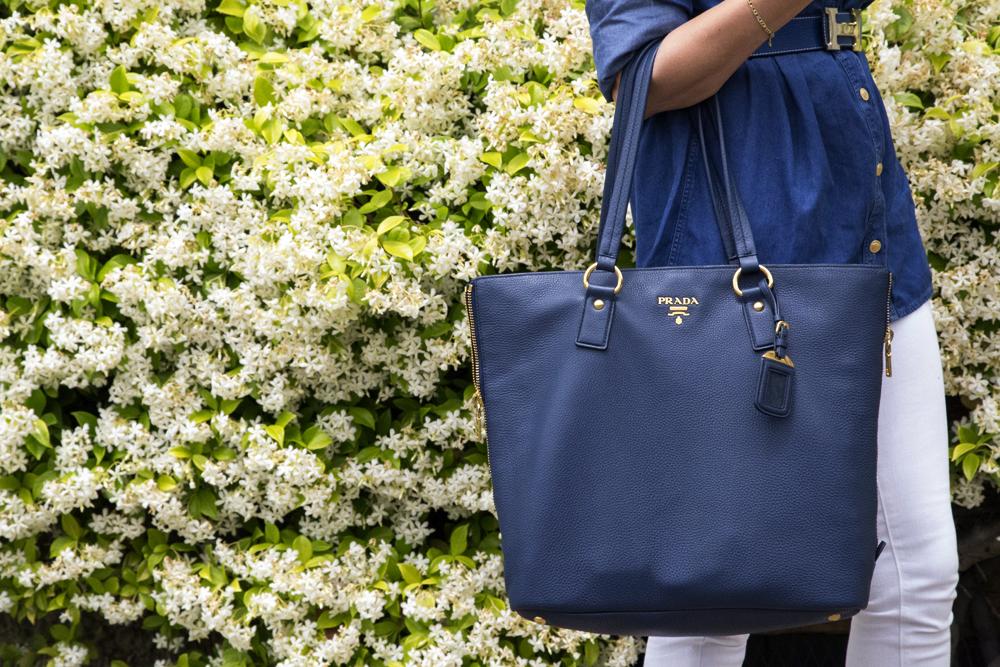 Prada blu leather bag