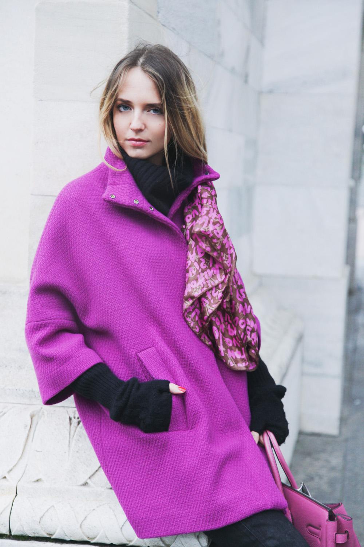 benetton pink coat 2015
