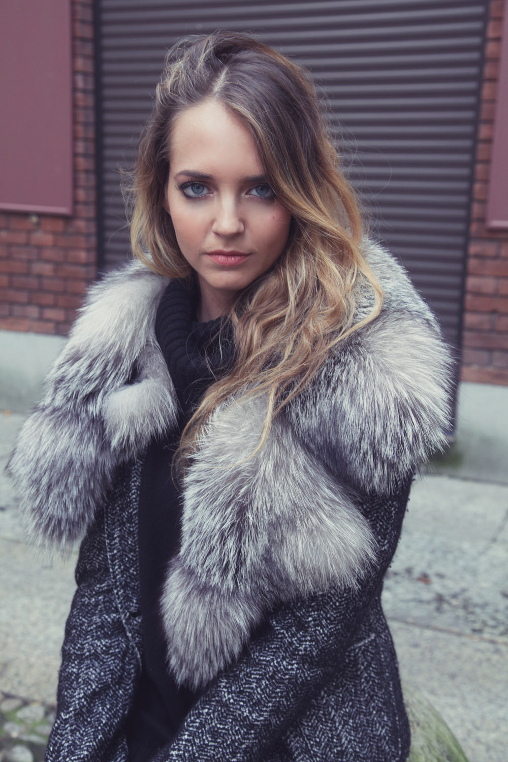 fox fur neck on the jacket