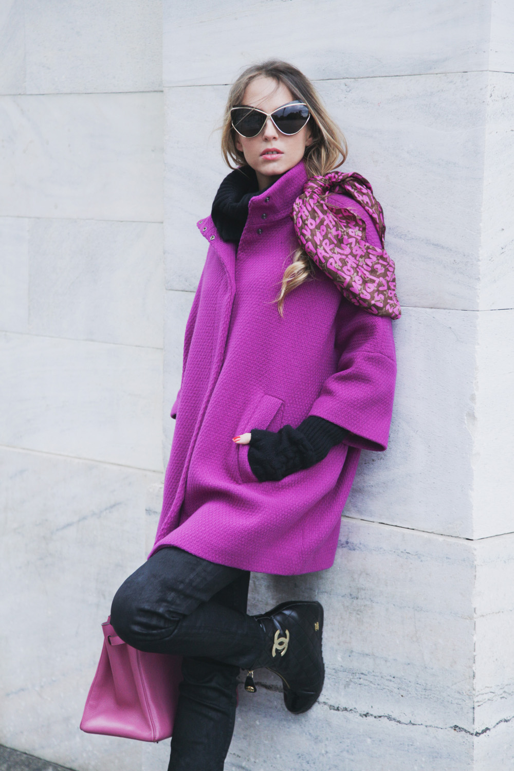 fucsia benetton coat