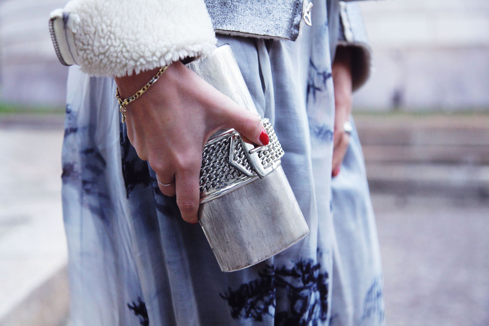 pirovano silver clutch