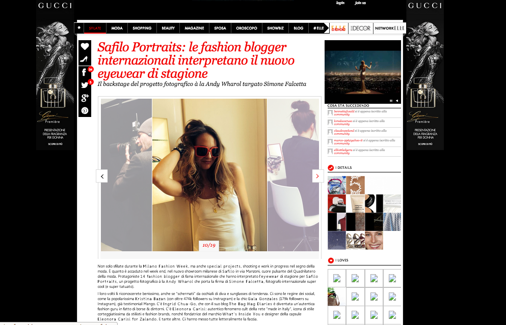 On Elle.com the Safilo Projects