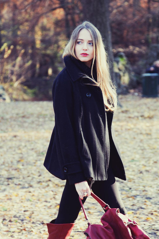 a line black coat