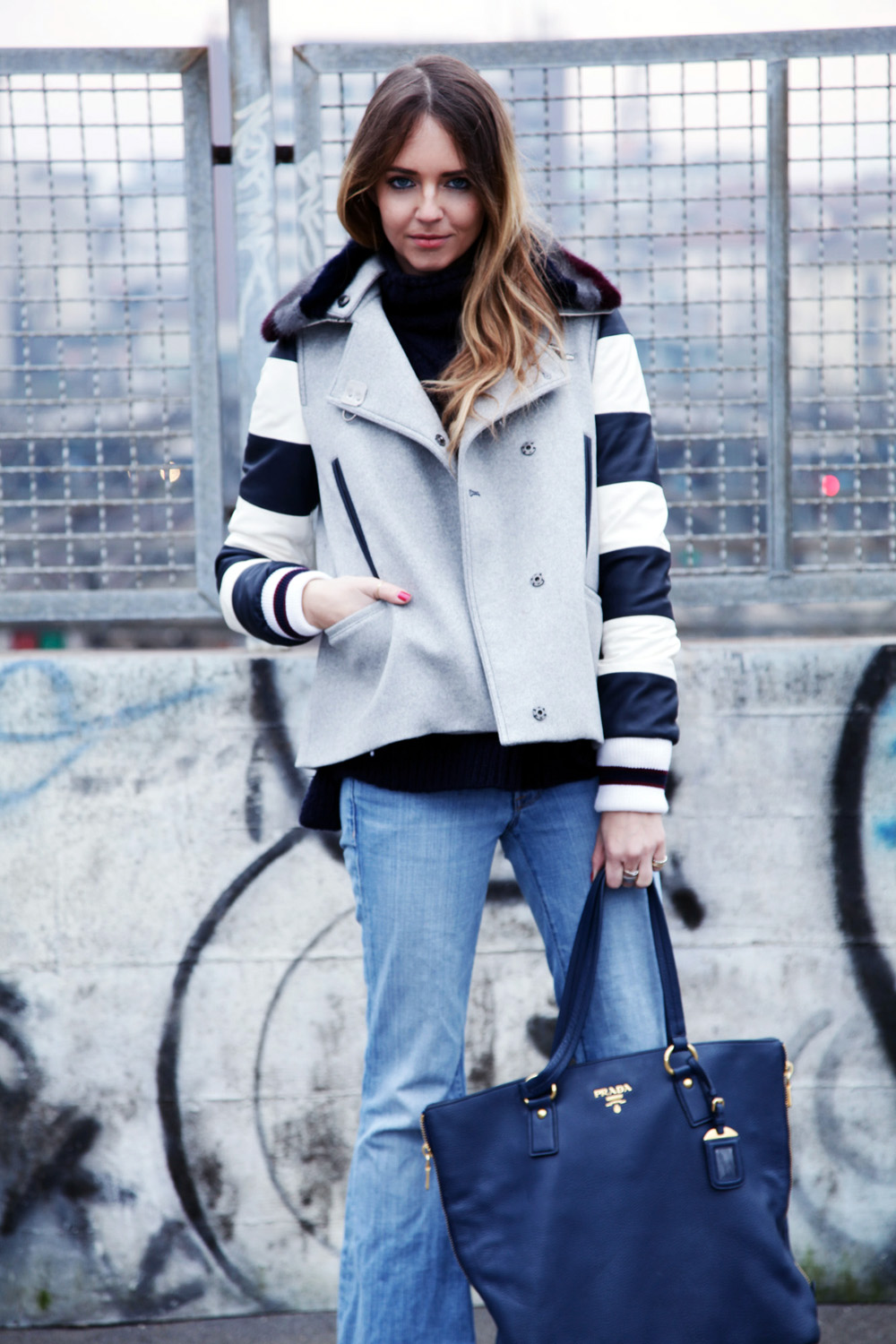 How to wear stripes fay winter coat 2015