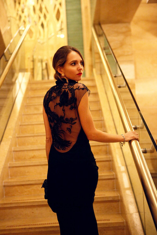 ralph lauren chinese mood long black dress