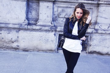 black and white contrast outfit
