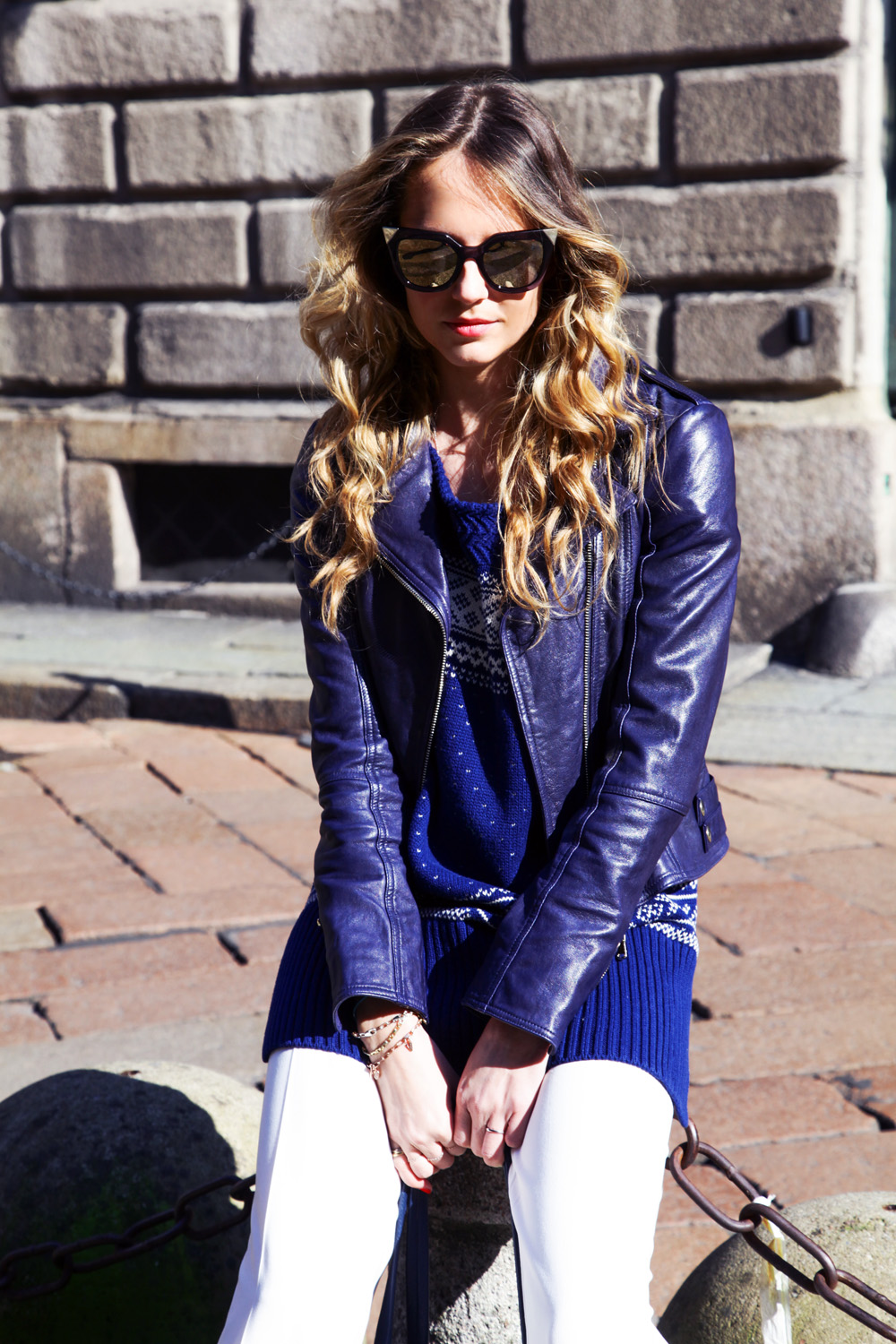 blue leather jacket twinset