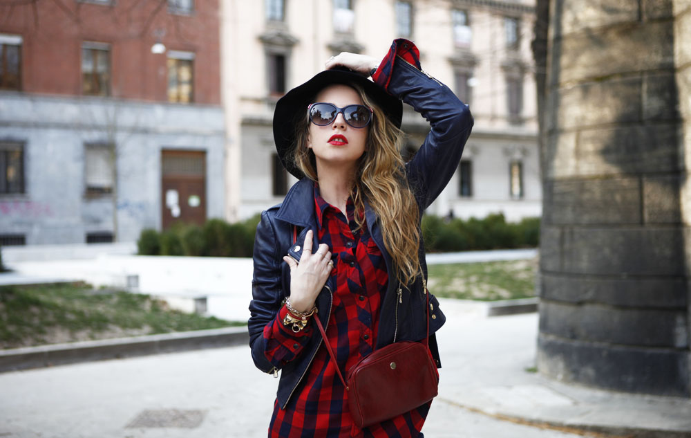 What to wear with a plaid shirt twinset leather jacket