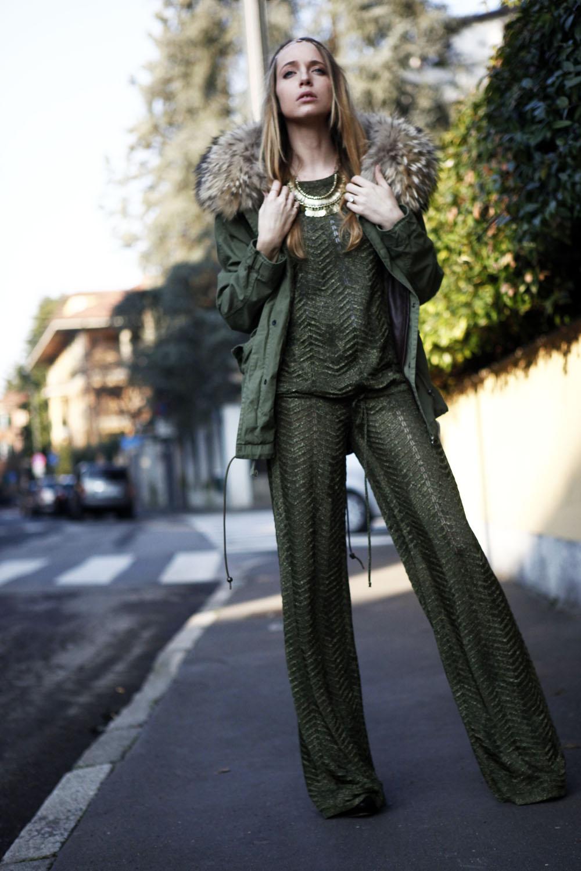 army green color parka coat