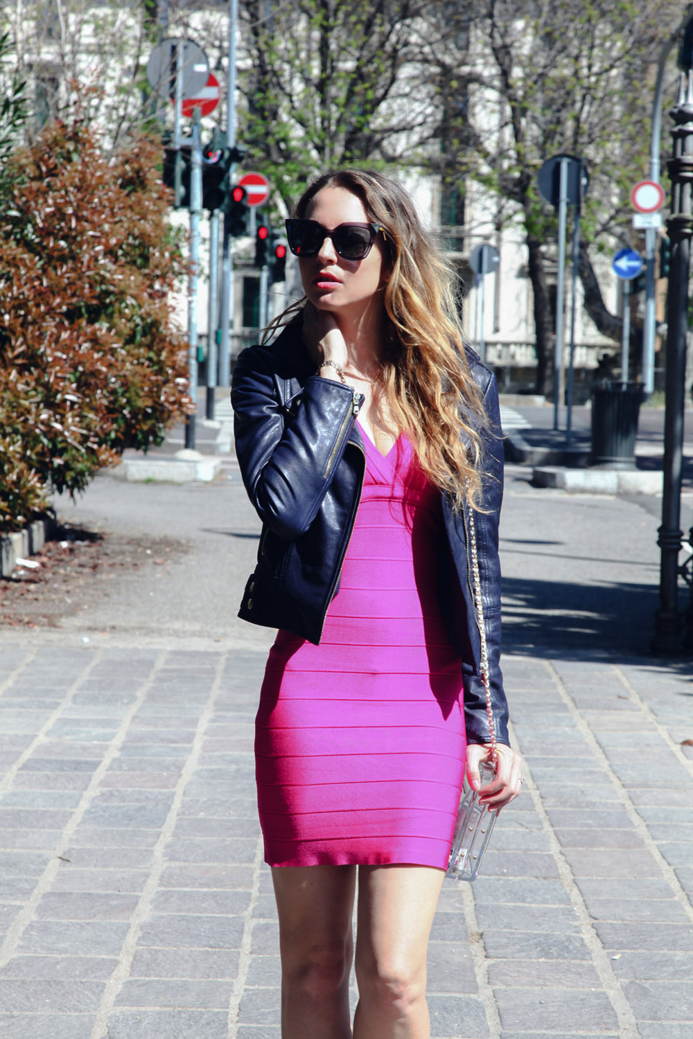bandage fucsia dress herve leger