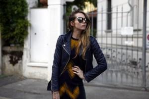 blu leather jacket