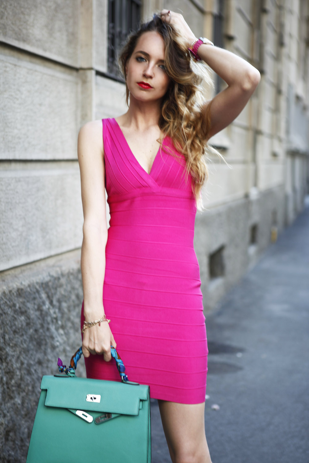 herve leger fucsia dress