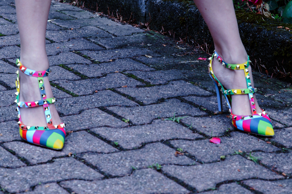 valentino rockstuds shoes rainbow