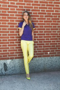 violet and yellow look