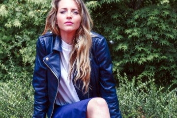 blu leather jacket