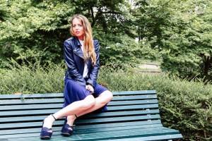 blu leather jacket twin-set