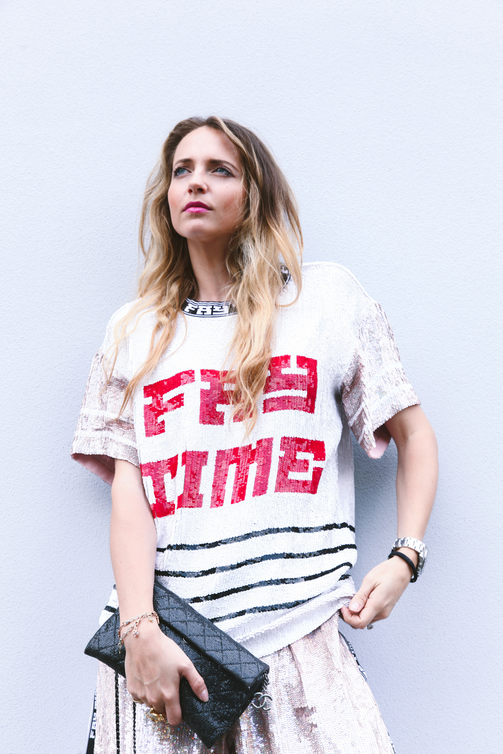 fay time paillettes t-shirt