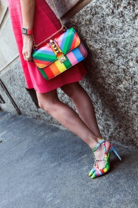 rainbow valentino shoes and bag