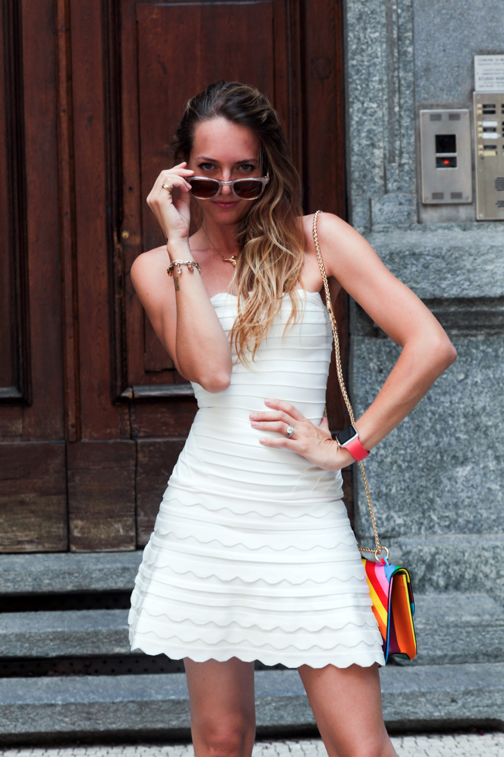 herve leger white dress summer 2015
