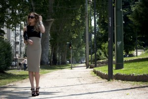 long beige skirt