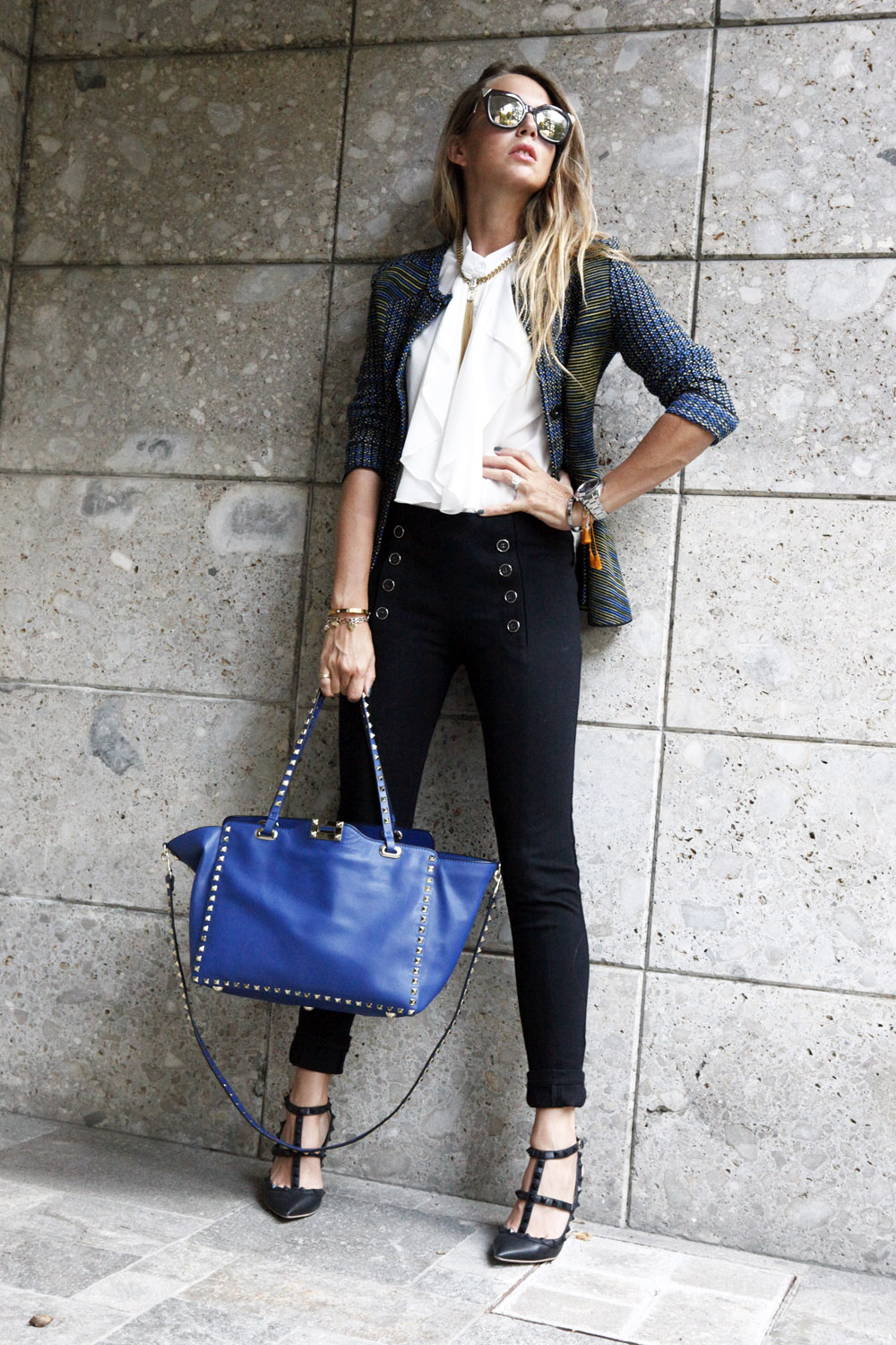 blue and black look