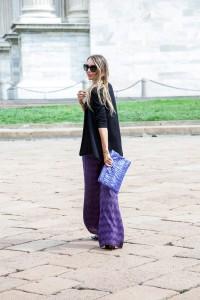 m missoni palazzo pants purple look