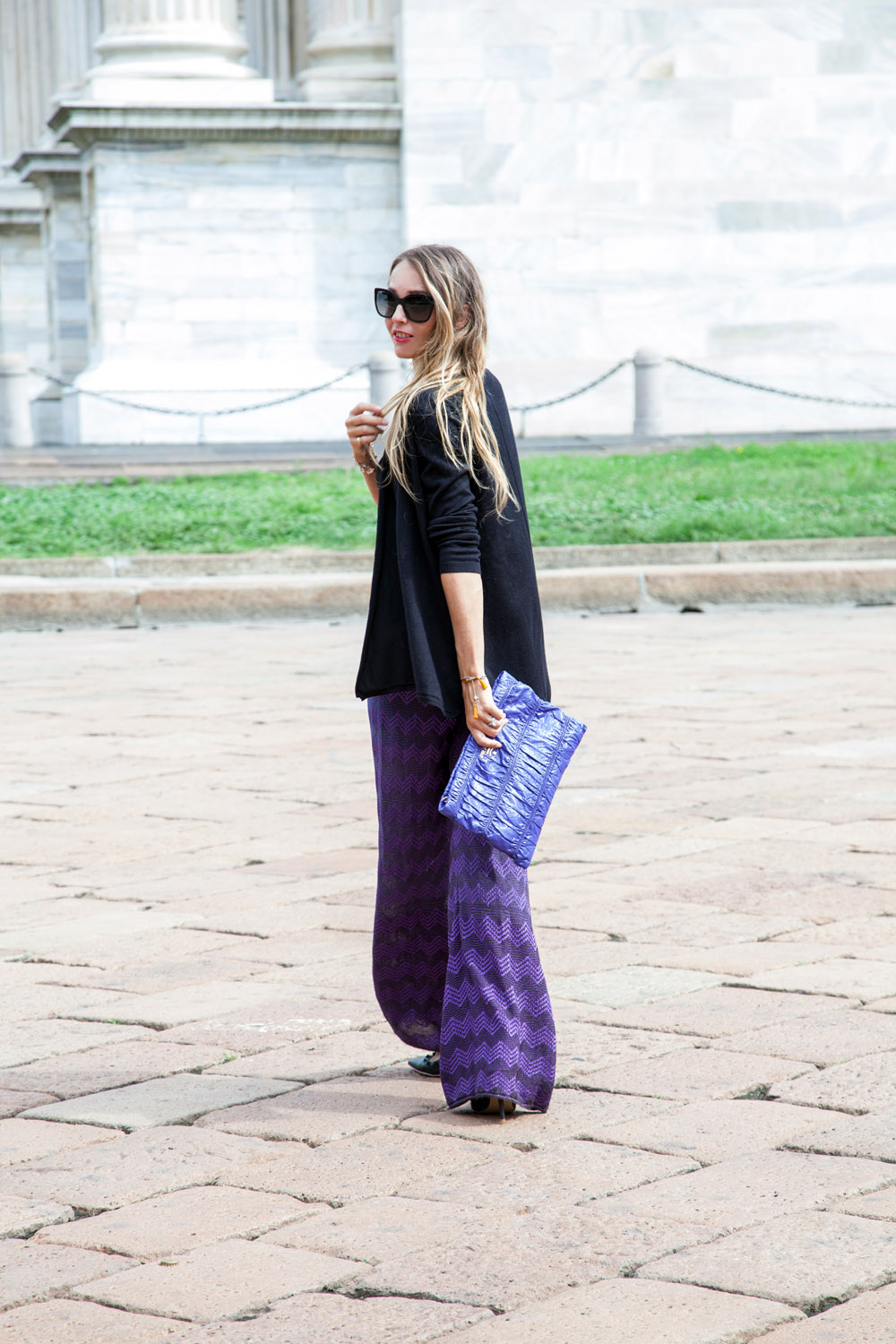 m missoni palazzo pants purple look