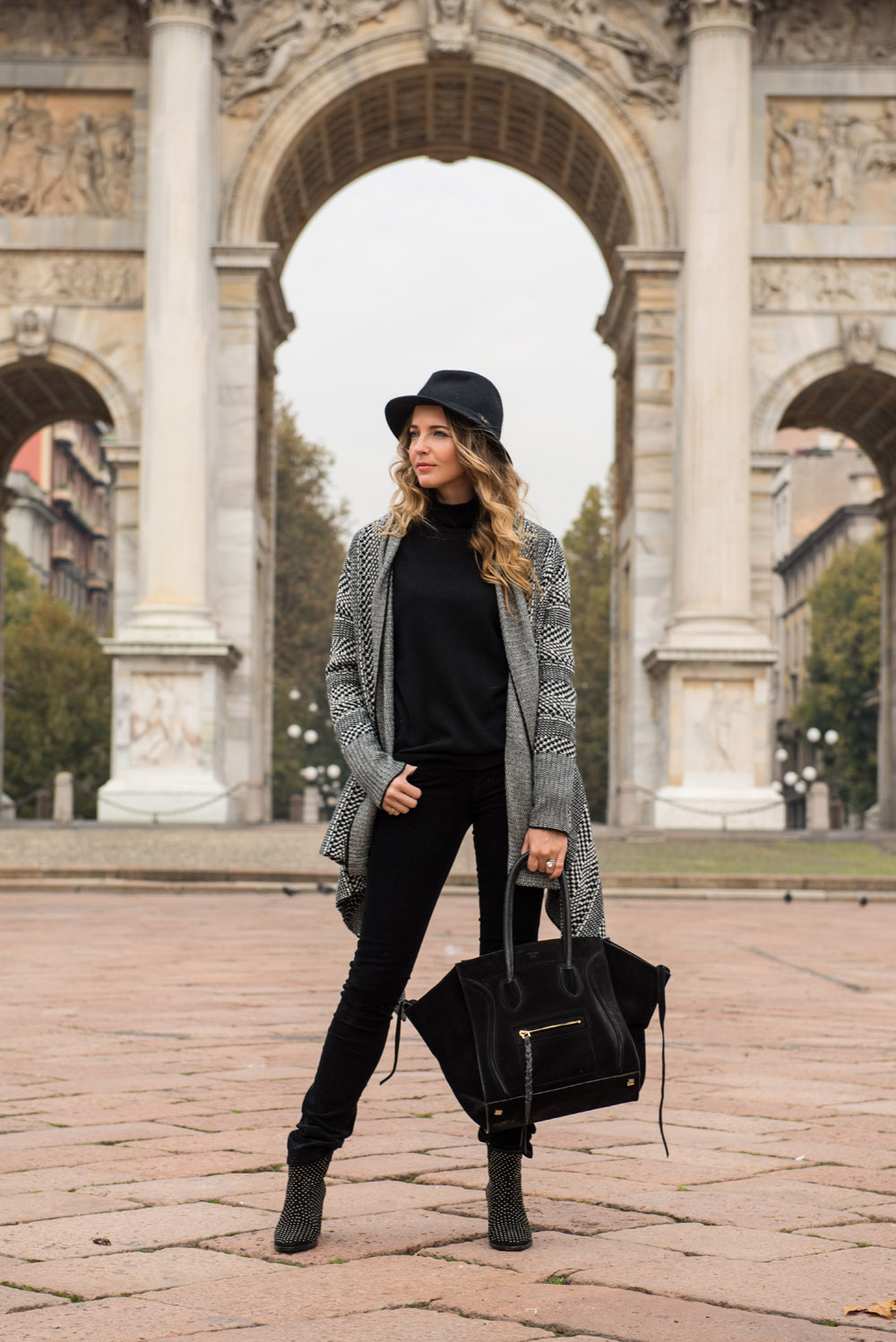 What to wear with a black and white cardigan