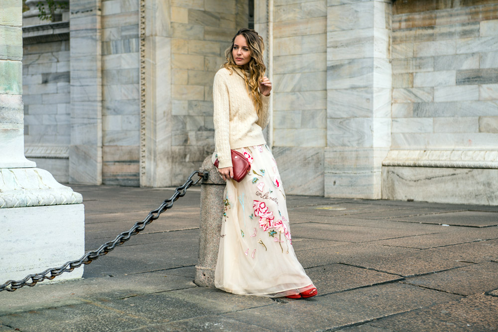 a long dress with a pullover