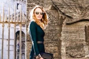 green herve leger dress with accessories 2016