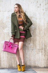 fucsia color block look