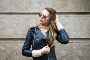 blu jeacket leather