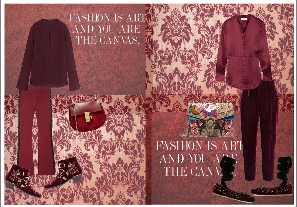 Damask and Velvet Look