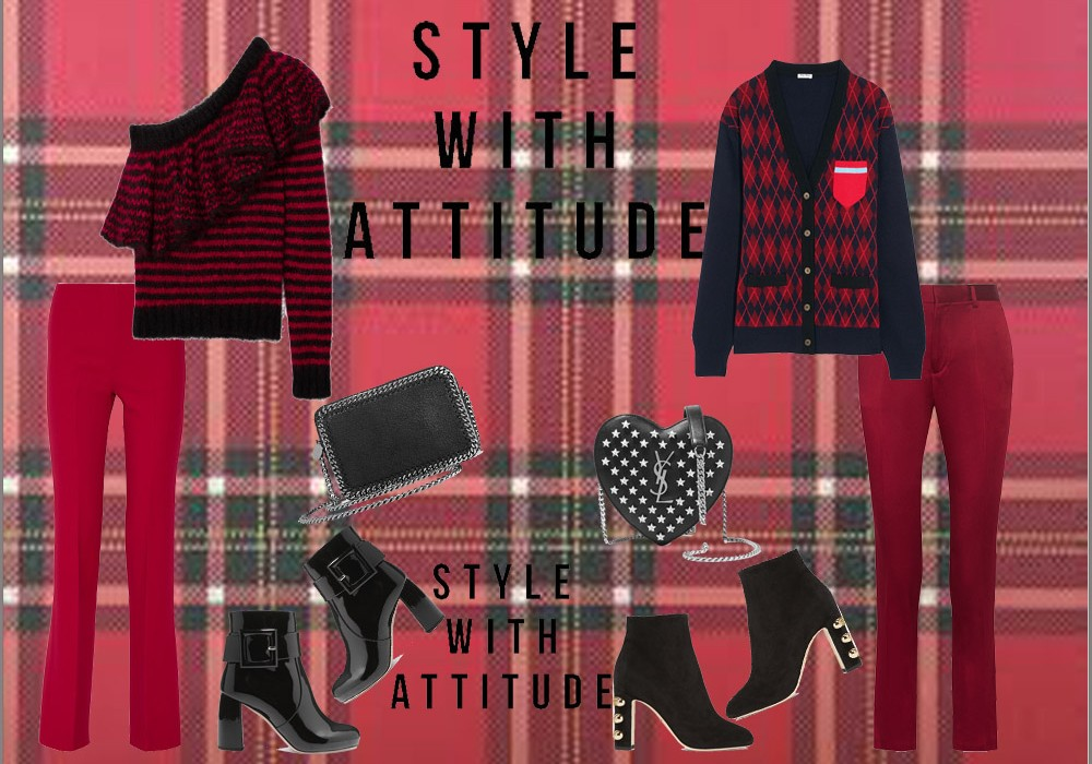How to wear a Red and Black Top