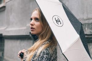 chanel umbrella black and white