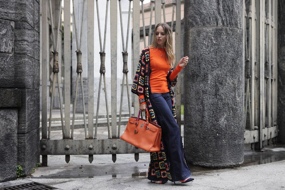 orange look with orange birkin