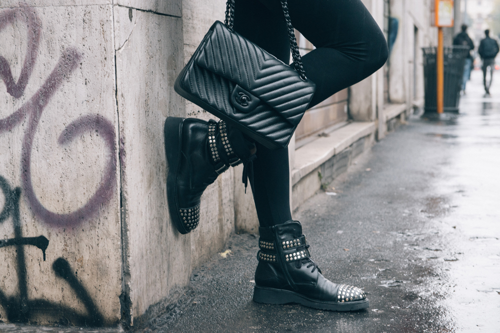 biker boots and chanel 2.55 bag