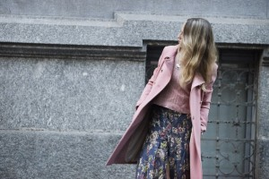 pink coat and long skirt