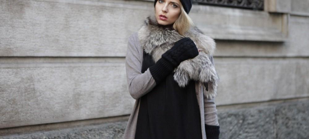 Come indossare un abito corto nero d'inverno