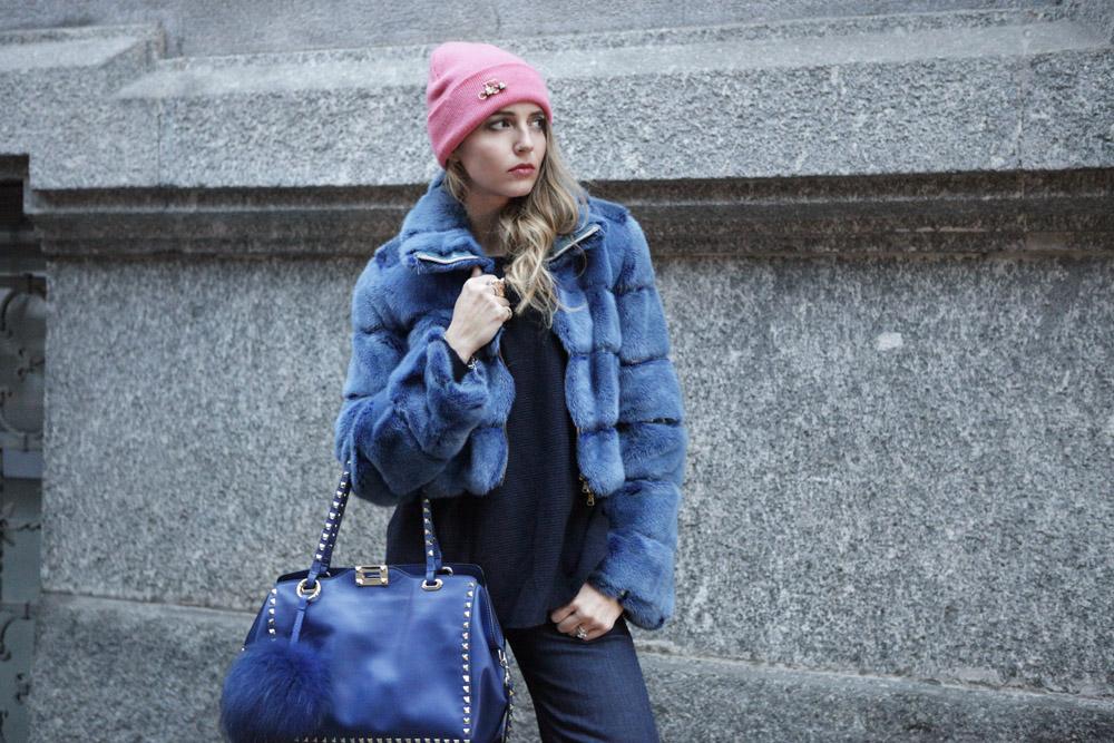 blu fur coat