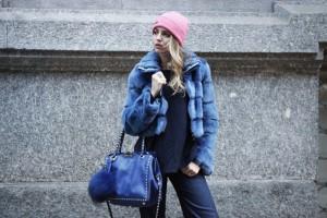 pelliccia blu visone