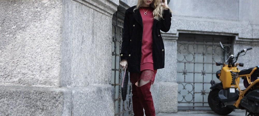 Burgundy Oversize  Sweater Dess