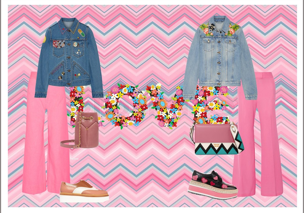 Flowers Jeans Jacket Look